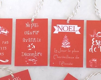 8 Christmas red with small expressions of Christmas tags