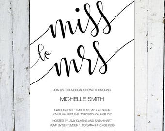 Bridal Shower Invitation, Miss To Mrs., Modern Bridal Shower Invitation,  Black And White, Calligraphy, Printable, Printed, Burgundy