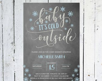 Winter Baby Shower Invitation, Baby Shower Invitation Boy, Baby It's Cold Outside, Chalkboard, Blue And Gray, Snowflakes, Printable, Printed