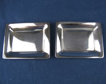 """Two S. Kirk & Son Sterling Silver Butter Pat Dishes - Pattern No 15 - 2 5/8""""L x 2 1/8""""W"""