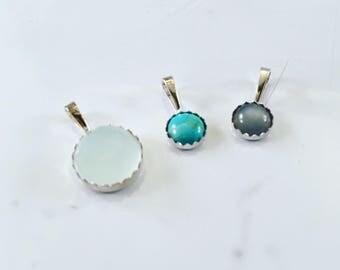 Sterling Silver & Gemstone Pendant, 6mm, 10mm, chalcedony, turquoise, moonstone, gemstone jewelry, silver jewelry, healing gemstones