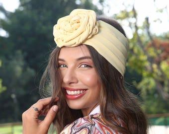 yellow headband, fashion headband, headband, flower headbands, turban headband, women's headbands, hair headbands, wide headbands