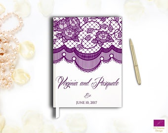 Lace Wedding Guest Book, Elegant Wedding Guestbook, Hardcover Custom Wedding Guestbook,Classy Guest Guestbook,White and Black Lace Guestbook