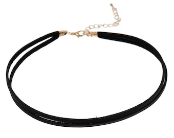 Black Double Strand Leather Choker (1707)