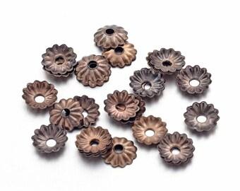 330 Antique Bronze Lightweight Flower Bead Caps 5mm (B209b)