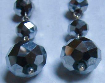 Facet Crystal Rondelle Sterling Metallic Silver Earrings