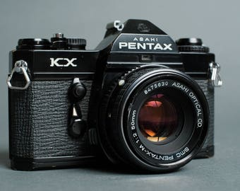 Black Pentax KX 35mm SLR Camera w/ 50mm f/2.0 Lens Restored Film Tested!