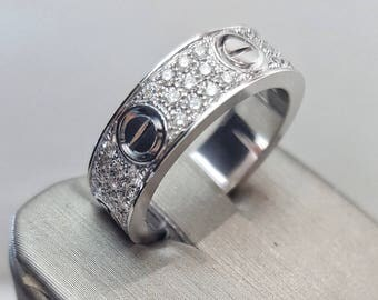 18K White Gold (Love Style) Ring with Diamonds