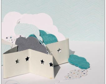 Blue clouds paper Garland / white interior
