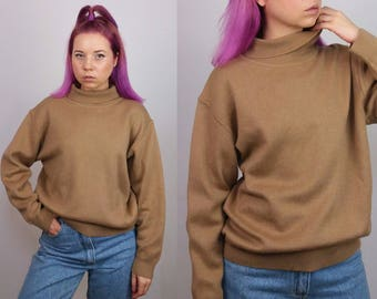 C&A CANADA Vintage 80's Cowl-neck Wool Jumper / Sweater/ Turtleneck Pullover in Caramel | Size S-M