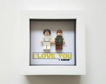 Star wars Gift for him I love you I know Hans solo and princess Leia / Lego Frame / Valentines day present for Boyfriend Husband Girlfriend