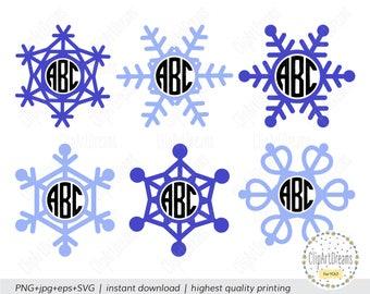 Monogram Snowflake SVG, Christmas Snowflake Monogram Svg,circle Xmas Snowflake Monogram frame svg file for Cricut Silhouette Cameo Curio DXF