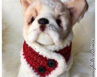 Holiday Santa Xmas Dog Button Scarf Handmade Crochet French Bulldog Neck Warmer clothe Boston Terrier Pug Puppy