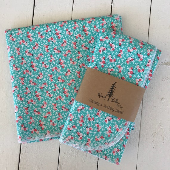 Baby Receiving Blankets | Wild Flower Swaddling Blanket, Stroller Blanket, Flannel