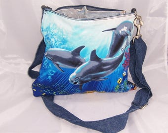 3 dolphins swiming bag, 12in by 11 in bag, Crossbody bag, Over Shoulder bag, recycled jean bag, upcycled jean bag
