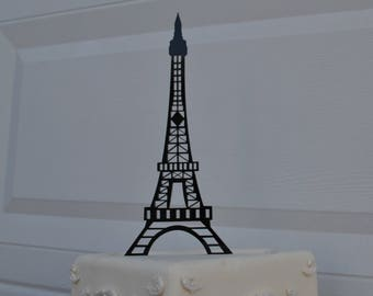 French Eiffel Tower cake topper black acrylic cake topper