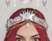 Moonrise Mermaid Crown festival bohemian tiara with, shells, crystals and chains