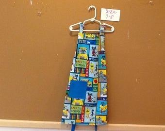 Child's apron, Pete the cat, back to school, school bus, Pete, Apple, colors, school is cool, arts, paint apron, reversible, unisex, pocket