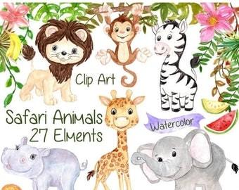 "SALE30% Watercolor Safari clipart: ""SAFARI ANIMALS Clipart"" Lion giraffe Jungle clipart Kids clipart baby shower clipart tropic fruit clipar"