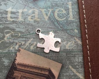 Lot of Six Antique Silver Tone Puzzle Piece Charms..