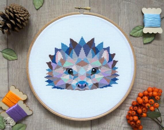 Cute cross stitch pattern hedgehog geometric