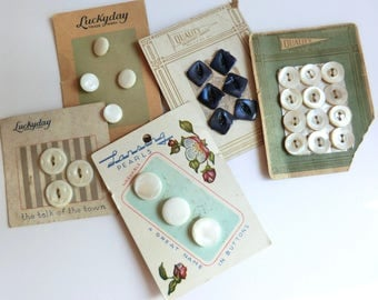 Vintage Mother of Pearl Buttons on Original Cards 28 Buttons