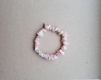Pink Peruvian Opal Chip Bracelet