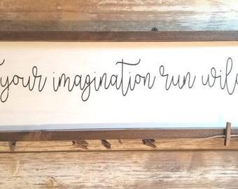 Kids art display, let your imagination run wild, rustic kids art display, farmhouse decor, farmhouse kids art display