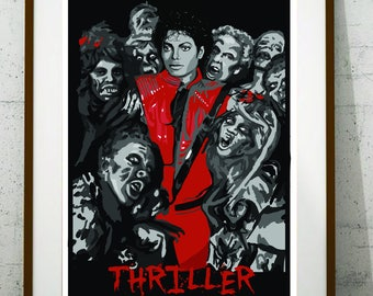 Michael Jackson poster. Michael Jackson illustration. Thriller poster. Music poster, instant download