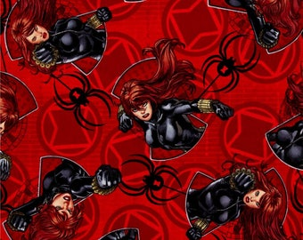 "Black Widow Punch on red Springs Creative, 43-44"" wide, 100% cotton, by the half yard"