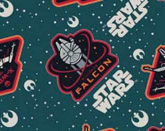 "Star Wars Licensed Millenium falcon Fabric, by the half yard, 43"" cotton flannel, star wars green fabric, star wars flannel, x wing fighter"