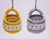 Large Crochet Hanging Basket in Yellow and White Pattern
