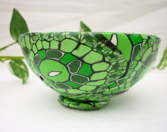 green bowl, small cup, hand made polymer clay