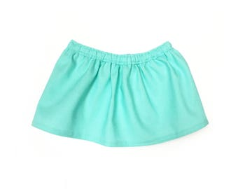 Baby Flare Skirt,  Light Turquoise Blue, Fits dolls such as American Girl, Bitty Baby, 15 inch Doll Clothes