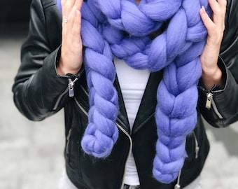 Super chunky scarf, Braid, Gigant knit, Snood, Warm, Bulky scarf, Loopy Yarn, Infinite scarf, Big yarn scarf. Merino wool, YourYarn