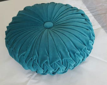 READY TO SEND - Large Teal Vintage Style Velvet Cushion