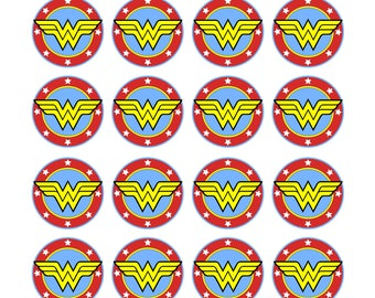EDIBLE Wonder Woman Wafer Cupcake Toppers