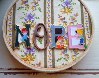 Nope - Vintage Floral Fabric & Enamel Kawaii Kid Letters Inspirational Snark Hoop Art - Retro Flowers Granny Hipster Home Decor Holiday Gift