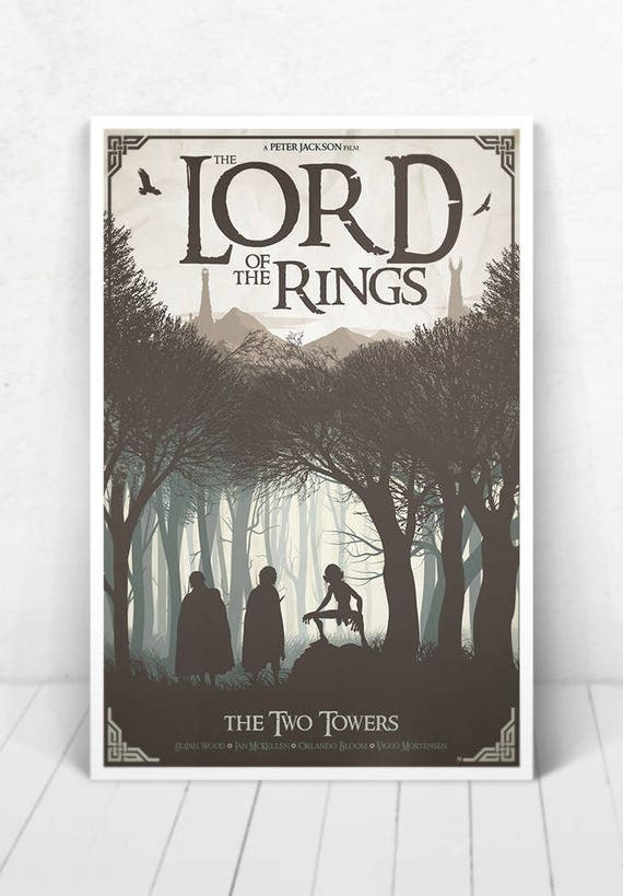 Lord of the Rings Movie Poster Illustration / Lord of the Rings Movie Poster / Movie Poster / Lord of the Rings / The Two Towers