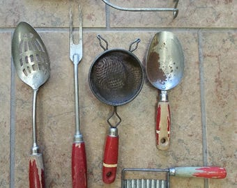 Lot of Vintage Kitchen Utensils Red Handle Rustic Primitive Kitchen Gadgets