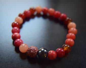 Dyed Quartzite Red Beads Bracelet