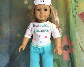 American Girl Custom I'm Really a Unicorn Pajamas and Sleep Mask