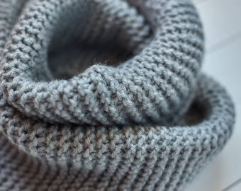 Gray knit cowl Cowl scarf Gray snood Knit cowl Neck warmer Infinity scarf Knitted cowl Scarf cowl Wool neck warmer Wool cowl Ladies snood