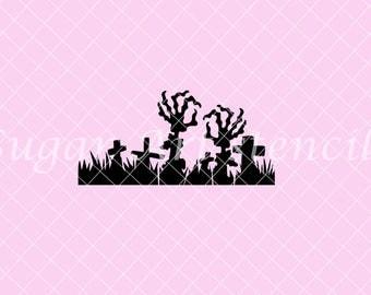 Halloween cemetery graveyard stencil scene NB900697