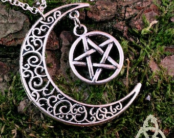 Elven necklace Moonstone and silver Pentacle - pagan wicca medieval Celtic fantasy - mariage - gn