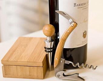 Corkscrew And Bottle Stopper Bamboo Gift Set
