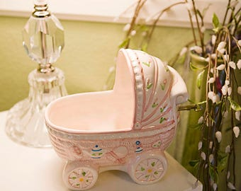 Musical Baby Girl Carriage Planter Beautiful Gift For Your Baby Girl