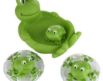 Family of Frog Complete Baby Bath Set Made From Safe Material For Baby