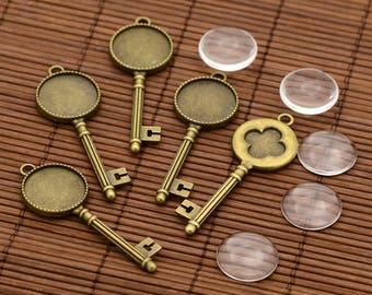 2 kits Support key 62mm + 20mm glass cabochon