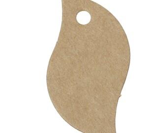 "50 kraft tags ""Leaf"" gifts of 5,6cm cardboard/paper"